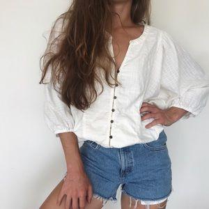 [Anthropologie] button-down boho blouse